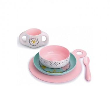 suavinex-vajilla-infantil-aprendizaje-5-piezas-rosa