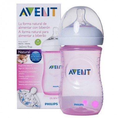 avent-natural-biberon-tetina-silicona-ancha-rosa-1m-260ml